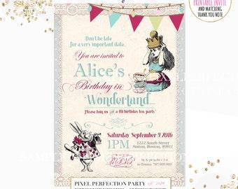 Alice in Wonderland Birthday Invitation Alice In Wonderland Invitation Wonderland Tea Party Invitation Vintage Alice In Wonderland Party