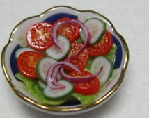 doll house food 12th scale one inch scale dish of fresh salad