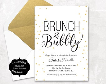 Bridal Shower Template, Printable Bridal shower Invitation, Brunch & Bubbly, DIY template, Instant DOWNLOAD - EDITABLE Text - 5x7, BS009