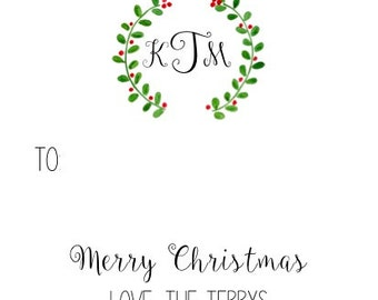 Personalized Holiday Laurel gift tag