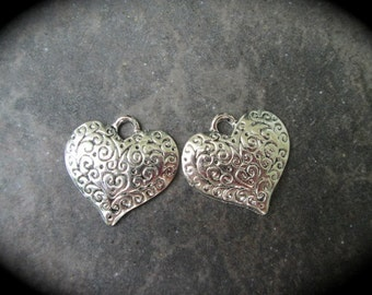 Filigree heart charms Package of 2 charms  Scroll design charms Southwestern Charms