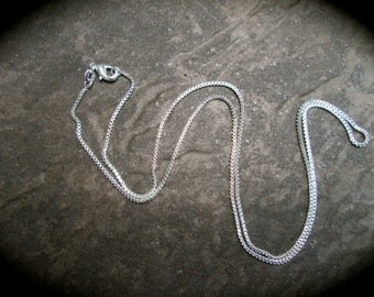 18 inch Sterling Silver Box Chain with Lobster Claw Clasp Stamped 925 perfect for jewelry making or pendants