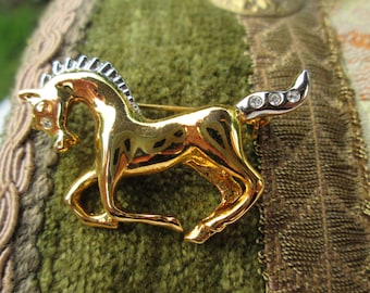Gold Tone Galloping Horse Brooch with Diamante Accents