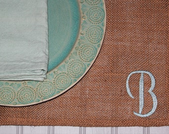 Set of Monogrammed Placemats - Set of Initial Placemats - Set of Burlap Placemats