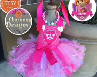 3piece set - Skye inspired tutu dress, fully LINED TOP - Paw Patrol - Petticoat Dress, Aviator Headband & Necklace - by Charming Designs