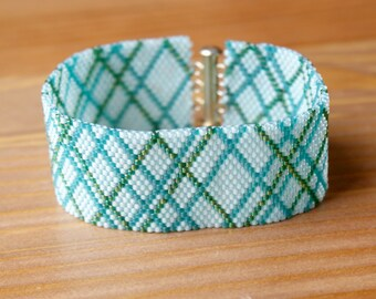 Light Blue Peyote bracelet, colorful bracelet, stripes, Wide cuff, beadwork, seed bead jewelry, beadwaving, SALE, gift for her, original