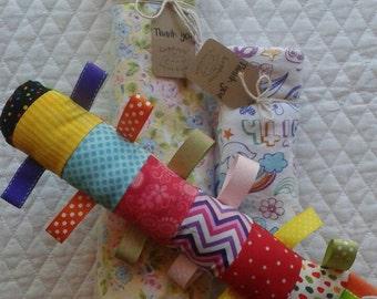Baby gift bundle, baby girl gift, baby boy gift, baby blanket set, baby blanket, burp cloth, stuffed animal