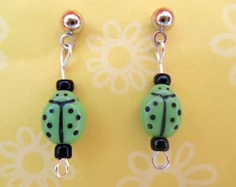 Green ladybug earrings-ladybug jewelry-Lady bug posts-Childrens clip on earrings-insect post-girls gift-storybookearrings-ladybug-teen-tween