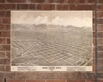Salt Lake City UT Vintage Print Poster Map from 1875