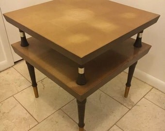 Captivating Vinatge Mid Century Atomic Blonde Two Tiered Step End Table