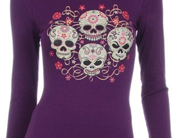 Four Sugar Skulls  - Day of the Dead Long Sleeve Shirt