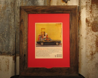 vintage ford mustang life mag ad framed with reclaimed wormy chestnut rustic frame 16x20 reclaimed wood frame wall frame