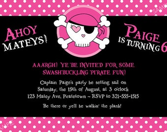 Girl Pirate Party Invitation for Birthday - Pink Skull Cute Pirate Theme - DIY Printable Digital File {Printing available}