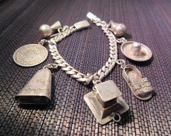 Heavy Sterling Silver Mexico Charm Bracelet - 7 Charms