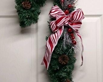 READY TO SHIP - Candy Cane Pine Wreath, Christmas Wreath, Christmas Decor, Candy Cane Wreath, Candy Cane Decor, Front Door Wreath