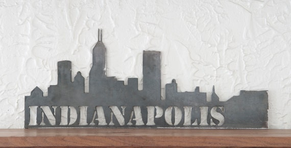 home decor stores indianapolis indianapolis skyline metal cityscape 24x10 11182