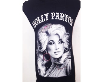 Custom Distressed Dolly Parton Shirt With Swarovski Detail
