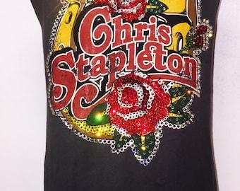 SPECIAL Custom Made To Order Distressed Chris Stapleton Shirt With Swarovski Detail