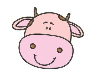 Cute Cow Applique Designs Machine Applique Embroidery Designs 6 Size - INSTANT DOWNLOAD