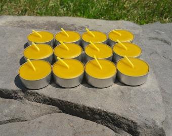 100% Beeswax Tealight Candles - 12 Tealights -  Aluminum Cups - Free Ship
