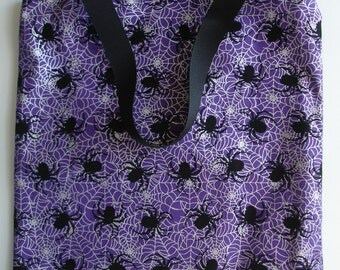 Spider Trick or Treat Bag - Halloween Tote - Purple Tote Bag - Trick or Treat Tote - Halloween Candy Bag