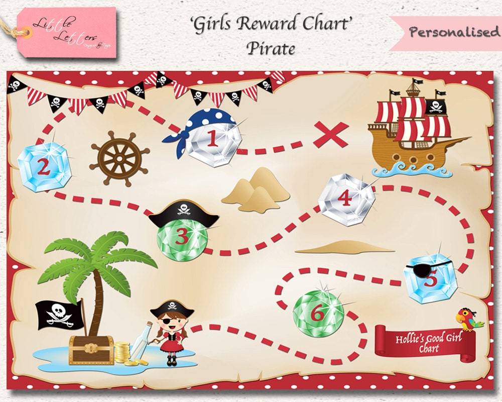 homework chart girls reward chart pirate reward chart pirate chore chart potty training homework personalised printable digital file