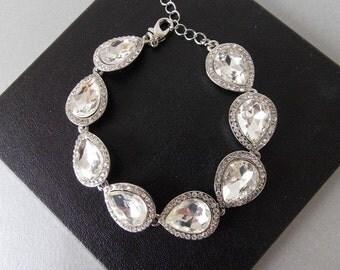 Silver Crystal Teardrop Bridal Prom Wedding Bracelet