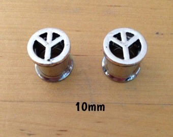 10mm silver peace sign symbol plugs for stretched ears
