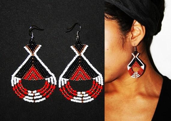 Aztec Earrings, Inca Earrings, Native Beaded Earrings, Native American Earrings, Traditional Beadwork, Tribal Fashion, Native Fashion