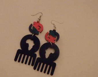 Afro pick earrings Map of Africa Free shipping.