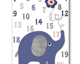 Navy Gray Pink Elephant Digital Numbers Nursery Printable Art Instant Download Digital Art Digital Download Baby Boy Nursery Art 8x10 11X14