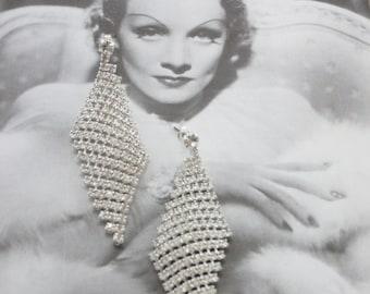 Retro Rhinestone Diamond Shaped Earrings, Wedding Earrings, Crystal Bridal Earrings, Vintage Dangle Earrings, Old Hollywood Jewelry