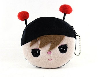 Lady Bug on a Kid,  Fabric Coin Purse for Kids Coin Purse 10ac80ab64