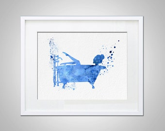 Watercolor Art Antique Bathtub  gift Modern 5x7 8x10 11x14 Wall Art Decor Soaking Antique Bathtub Illustration Art Wall Hanging  Print Blue