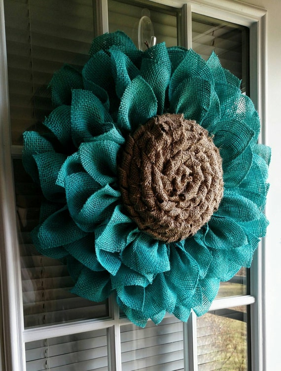 Teal burlap flower wreath by jfprettylittlethings on etsy