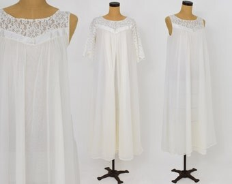 50s White Long Peignoir Set | Large