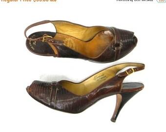 Summer SALE 50s Size 8.5 Narrow Brown Lizard Skin Pumps | Brown Sling Back Shoes|  I Miller