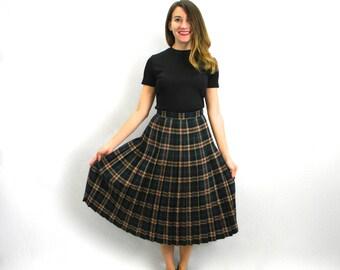 70s Plaid Pleated Skirt | Black & Blue Wool Plaid Skirt | Murray Junior, Scotland | Small