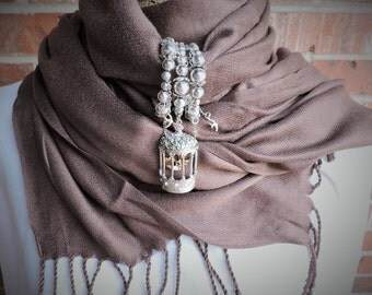 Silver and gold bird cage scarf wrap