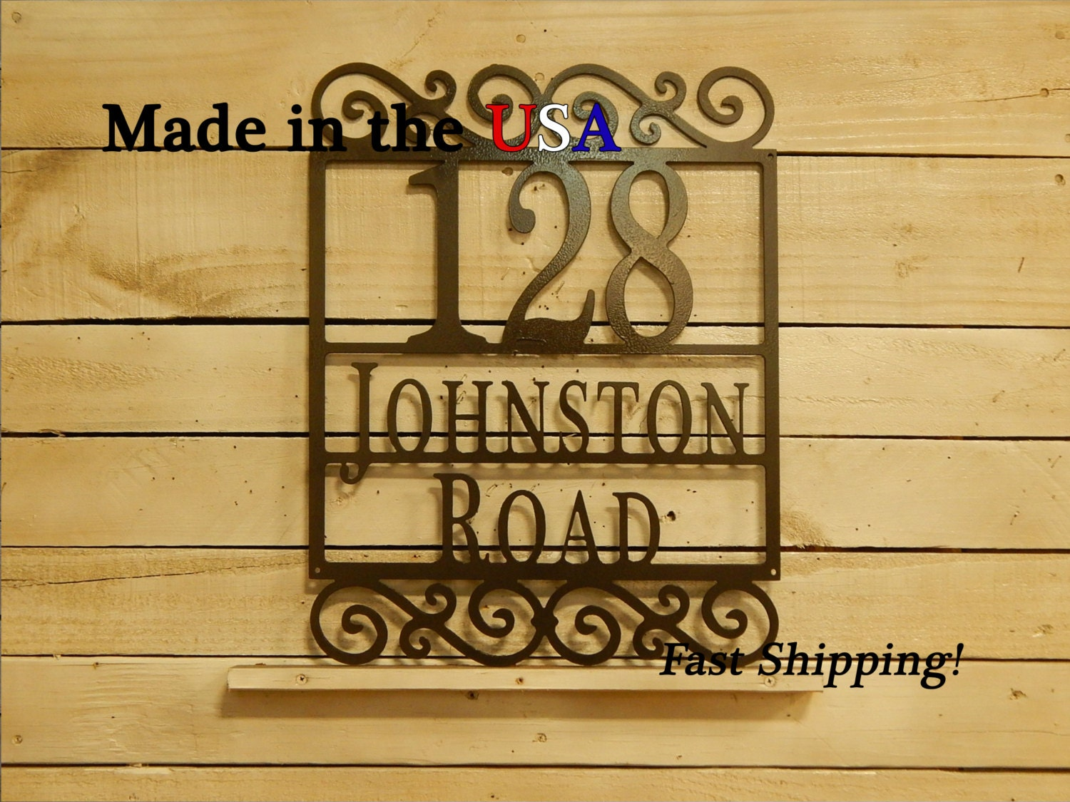 Scroll house plaque number metal sign scroll decor address - Decorative house number signs ...