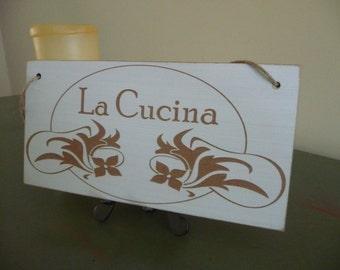 Kitchen Sign, La Cucina Sign, Italian Sign, Distressed Sign, Wooden Sign, Kitchen Plaque, Art Nouveau