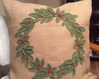 Burlap Wreath Pillow, Christmas Wreath Pillow, Holiday Throw Pillow, Christmas Decor, Sage Green Wreath, 3D wreath, Wreath on pillow,Sham