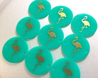 Gold Flamingo on Mint 2 hole disc - jewelry making, bangle bracelet, gift, handmade beads - 1.25 inch size