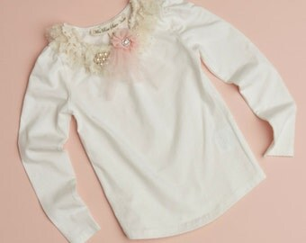 embellished girls top. pink and cream lace and tulle embellished girls top.