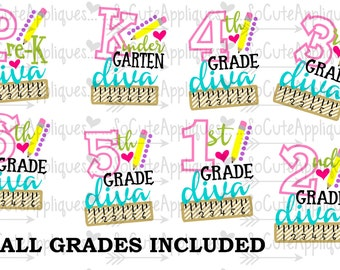 SVG, DXF, EPS Cut file Kindergarten, 1st, 2nd, 3rd Grade cut file, back to school cut file, socuteappliques, silhouette cut file, cameo file