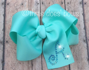"""Big 5"""" Bow (or larger/smaller) - 2.25"""" inch ribbon with rhinestone initial - Boutique Bow with Bling - Bling Bow -Bows with Bling"""