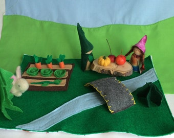 Waldorf Inspired Play Mat With Garden and Felt Vegetables, Felt Play Mat, Garden Playmat