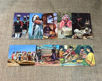 Lot of 8 Vintage Indian Themed Post Cards
