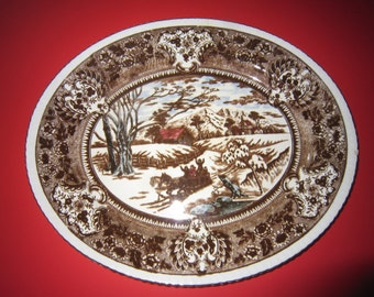 Vintage Ideal Ironstone China, Hand Painted Platter, Christmas Turkey Platter, Currier & Ives Sleigh Ride