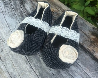 baby shoes, mary janes, black herring bone mary janes, baby mary janes